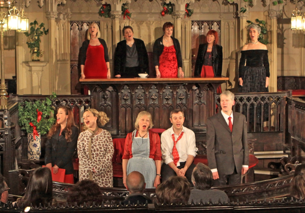 Deck the Hall...(2011) Actor/readers & acapella choir '5 in a Bar' in Shire Hall finale